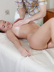 Gorgeous gal permits to massage her horny pussy